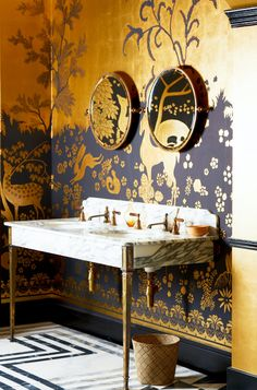 Drummonds at Decorex antique brass creates a dramatic look paired with Arabescato marble on our Hebdern double basin. Woodland Rateau inspired Wallpaper by De Gournay. Wallpaper Bathroom Vanity, Of Wallpaper, Bathroom Vanities, 1920s Bathroom, Painted Wallpaper, Metallic Wallpaper, Gold Bathroom, Bathroom Basin, Interior Exterior