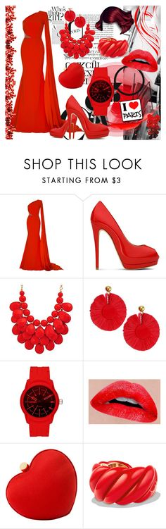 """An Evening"" by toddverbose on Polyvore featuring Alex Perry, Giuseppe Zanotti, Oscar de la Renta, Diesel, Santi, David Yurman and red"