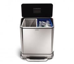 SimpleHuman trash can, super sleek and practical design, with a hidden separation of 2 can's in one and odour filter in the lid.
