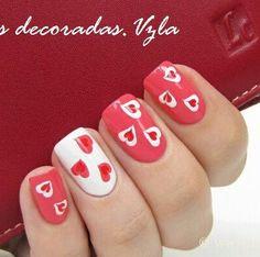 Valentine's Day hearts nail art