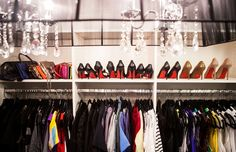 Inside Closet Angels // closet style // Louboutins // chandelier // closet organization // photography by Jennifer Kathryn Photography
