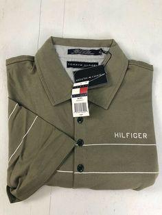 e8c1252e XL Tommy Hilfiger Vintage New 100% Cotton Polo Golf Shirt - Green/White  Stripe