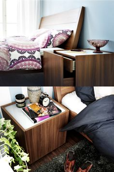 NYVOLL nightstand - stylish form follows smart function. Drawer in a drawer is a cleaver idea.