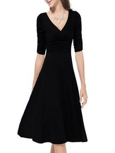 Shop Black Wrap V-neck Ruched Half Sleeve Midi Dress from choies.com .Free shipping Worldwide.$22.09