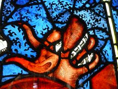 York Minster East Window; pannel 5a: The Dragon gives power to the Beast, detail.