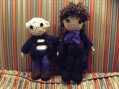 Sherlock and John crochet dolls