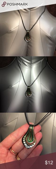 """Genuine glass teardrop pendant 16"""" rope chain. Pendant measures 1.75"""". Swirls of green, silver, gold and black accent Jewelry Necklaces"""