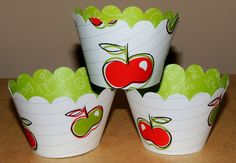 20 Cupcake Wrappers  Apple Cardstock Party by SweetPaperHouse, $12.99