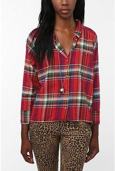 BDG High/Low Flannel Button-Down Shirt $49.00 available at Urban Outfitters