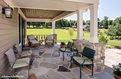 This rear porch enjoys the shade! The Chesnee house design #1290.