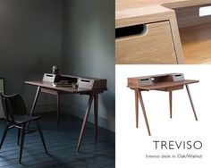 The Treviso desk designed by Matthew Hilton captures an element of architectural character, combined with a timeless elegance, amplified through the natural beauty of solid, pale oak or rich dark walnut.  #ercol #treviso #timeless #desk #home #office #oak #walnut #homeinspo #interiordesign #interiors #luxury #handcrafted #furniture
