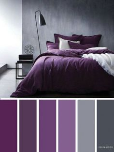 Grey and purple colors/ediblefleurs/debra ponte dusty-smokey deep purple Bedroom ideas Grey and purple color inspiration,Grey and purple color schemes Purple Color Schemes, Purple Color Palettes, Purple Palette, Purple Color Combinations, Color Palette Gray, Grey Living Room Ideas Color Schemes, Apartment Color Schemes, Bedroom Colour Palette, Color Schemes Design