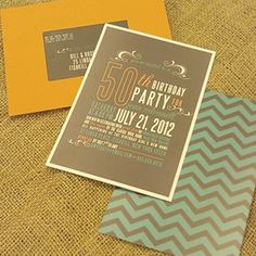 50th Birthday invite...  I like the colors and different fonts/shapes