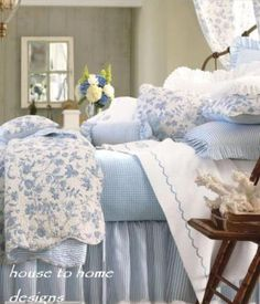 Brighton Blue Toile 5 or Quilt Set -. This classic quilt & shams have a white background with delicate toile floral designs in dusty blue. Cotton, count, with scalloped edges. Reverses to a classic blue & white ticking stripe. Blue Rooms, White Bedroom, Bedroom Sets, King Bedroom, Master Bedroom, French Country Bedrooms, French Country Decorating, Country French, Country Style