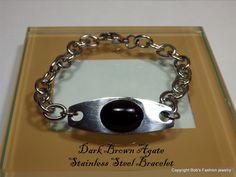 Brown Agate Gemstone & Stainless Steel Bracelet