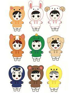Chibi Wallpaper, Cartoon Wallpaper, Exo Cartoon, Exo Stickers, Exo Anime, Exo Fan Art, Cartoon Drawings Of Animals, Kpop Exo, Bts And Exo