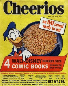 Cheerios in the 1960's. My favorite cereal when I was little.  But I swear mine had Yogi Bear on the box.