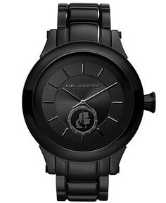 Karl Lagerfeld Watch, Womens Black Ion-Plated Stainless Steel Bracelet 45mm KL1201 - Womens Watches - Jewelry  Watches - Macys $325