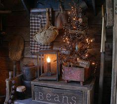 Primitive Christmas tree bin and barn lamp at Sweet Liberty Homestead