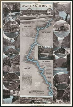 Sheet folded into brown cover. Sheet shows a map of the Wanganui River flanked with photographs of 17 scenes on the river, including a photograph a. Cool Countries, Countries Of The World, New Zealand Houses, River I, Kiwiana, The Beautiful Country, Travel Information, Steamer, Auckland