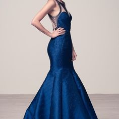 Navy blue mermaid beaded prom dress #tt1637