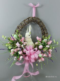 Spring Easter Bunny Wreath on Etsy. Easter Wreaths, Holiday Wreaths, Holiday Crafts, Halloween Wreaths, Holiday Ideas, Easter Projects, Easter Crafts, Easter Decor, Easter Ideas