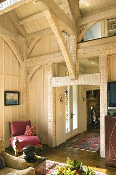 Rustic white pine featuring hand-hewn timbers in North Carolina