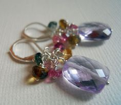 Perfect for a rose violet outfit! Spring Fling Amethyst and Tourmaline cluster earrings #ShirzayCollection