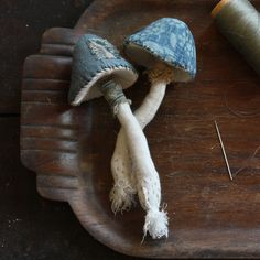 two blue toadstools by Ann Wood
