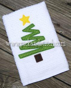 Zig Zag Christmas Tree Applique Design - Pick & Stitch