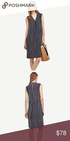 """NWT Ann Taylor Navy White Stripped Knee Dress SZ S New with tag. Retail price at $149 plus tag. PRODUCT INFO Elongating stripes pair with 360-degree pleats to create a summer-ready silhouette. Pair with a summery tote and strappy sandals to go from weekday meetings to weekend getaways. V-neck. Sleeveless. Front and back center pleat. Back slit. Lined. 25"""" from natural waist. Check it out at…"""