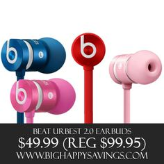 Beats UrBeat Earbuds Save 50%  Click on the link below to find out more about this deals.  Check out http://www.bighappysavings.com to find more money saving deals  #BigHappySavings, #CouponCommunity, #ExtendedCyberMonday, #OnlineDeals, #SuperDeals