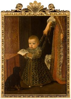 1) Adorable baby garb, 2) This looks like a really good idea for events A child in leading strings, Cruz (1551-1609)