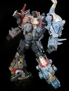 """Custom Transformer: """"Extinction"""" combiner, made up of Grimlock, Slag, Sludge, Swoop, and Snarl"""