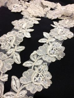 """3"""" Corded, Beaded, and Sequined Flower Trim Lace on Organza, White and Ivory; 2 Yards Amore Lace and Fabrics http://www.amazon.com/dp/B00MIIDBWQ/ref=cm_sw_r_pi_dp_-pP3wb1N7Z63Q"""