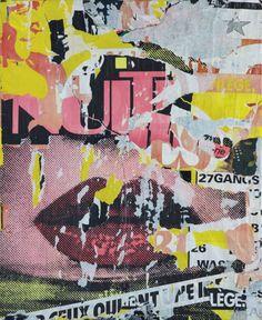 """""""Rue du privilégié"""" (1988) torn posters pasted on canvas by Jacques Villeglé"""