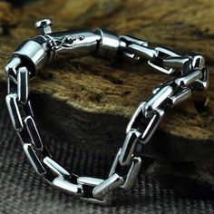 Men's Sterling Silver Rectangle Link Chain Bracelet