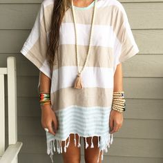 {boho beads & cover up} Summer Outfits, Cute Outfits, Summer Fashions, Dress Outfits, Boho Fashion, Fashion Outfits, Fashion Ideas, Swimsuit Cover Ups, Textiles