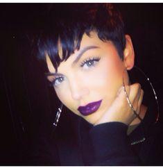 love the purple lipstick