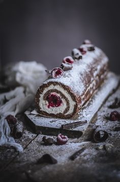 Almond & Chocolate roulade with mascarpone and raspberries