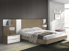 Dormitorio bicolor para colchón de 150cm.Disponible en varios acabados...