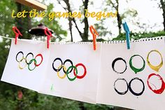 Kid craft, Olympic rings.  Teach your kid what the rings mean.