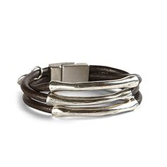 """Silver Lining Cuff - A circlet of free-spirited panache in sterling silver plate and genuine natural leather. Magnetic closure. Lead and nickel free. 7""""L. Made in Spain. https://www.morinda.com/3764125/en-us/shop/3795999#"""
