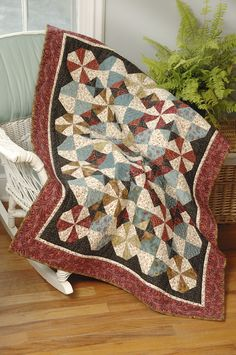 """here we are with """"Country Breeze"""" by Ivory Spring . This quilt is a scrappy, and sort of pinwheel-y with a twist quilt… find out more on http://ivoryspring.wordpress.com/2012/03/22/country-breeze-in-fons-and-porters-easy-quilts-summer-2012/"""
