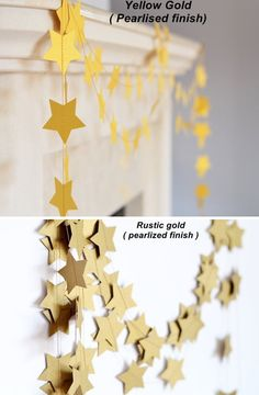 Shimmer yellow gold garland  Handmade Holiday decor  Star Garland by CoutureByAyca USD 14  Before Christmas delivery available for USA without any extra cost.No need to ask.  Happy Shopping!