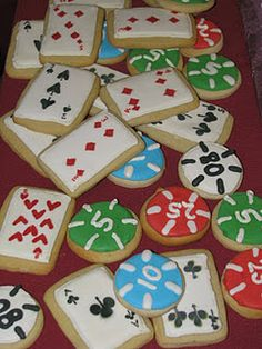 Poker card and Poker Chip sugar cookies.