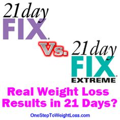 21 Day Fix vs 21 Day Fix Extreme. What kind of results can you really get in 21 days. Find the best workout for you. http://www.tipstoloseweightblog.com/weight-loss/21-day-fix-vs-21-day-fix-extreme