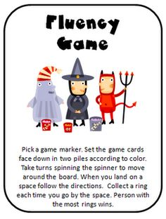 Printable fluency game (October) - - Re-pinned by @PediaStaff – Please Visit http://ht.ly/63sNt for over 3000 pediatric therapy pins