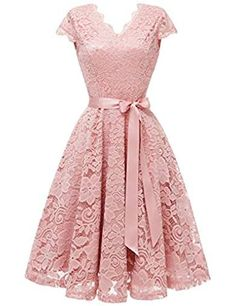 Market In The Box Midi Women's Lace Dress Vintage Style Swing Dress Cap-Sleeve Bridesmaid Party Cocktail Homecoming Dresses With Belt Lace Dress With Sleeves, Lace Midi Dress, Flare Dress, Lace Bridesmaid Dresses, Homecoming Dresses, Dress Wedding, Party Wedding, Prom, Casual Dresses