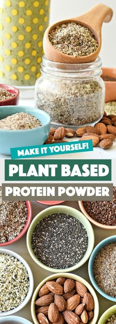 An easy DIY plant based protein powder mix made up of only the good stuff. Free of dairy and made straight from the earth. An easy DIY plant based protein powder mix made up of only the good stuff. Free of dairy and made straight from the earth. Homemade Protein Powder, Vegan Protein Powder, Protein Powder Recipes, High Protein Recipes, Protein Snacks, Protein Mix, Protein Sources, Protein Powder Substitute, Protein Powder For Kids